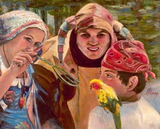 Sally Arroyo; RENAISSANCE TRIO WITH BAB..., 2015, Original Painting Oil, 24 x 20 inches. Artwork description: 241  COLORFUL COSTUMED CHARACTERS  ENGAGED  IN YOUNG BOY WITH PARROT ON SHOULDER, YOUNG WOMAN TEASING PARROT WITH TWIG BASED ON RENAISSANCE FAIR IN LAKE TAHOE FOREST, COURT JESTER ONLOOKING THE ENCOUNTER.  Size 24