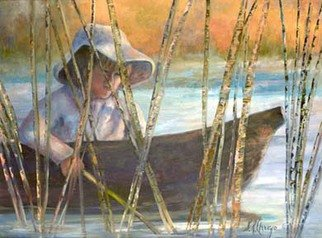 Sally Arroyo; TROLLING, 2015, Original Painting Oil, 24 x 18 inches. Artwork description: 241  BOY IN BOAT, TROLLING IN TALL REEDS CONCENTRATING ON HIS CATCH. Size 24x18   Oil on canvas  Signed by artist COLORS  BACKGROUND SUNSET COLORS, BLUES, SOFT WHITES and GREENS ...