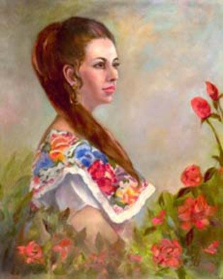 Sally Arroyo; VIRGINIA, 2015, Original Painting Oil, 30 x 24 inches. Artwork description: 241  A FORMAL PORTRAIT OF A BEAUTIFUL WOMAN POSING IN FLORAL DRESS AS BEAUTIFUL AS THE ROSES THAT SURROUND HER. SHE DOES NOT MOVESize 30