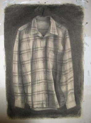 Salvatore Victor;  Stripedshirt, 2005, Original Drawing Charcoal, 30 x 40 inches. Artwork description: 241 charcoal on rives b. f. k...