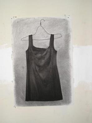 Salvatore Victor; Black Dress, 2005, Original Drawing Charcoal, 30 x 40 inches. Artwork description: 241 charcoal on rives b. f. k. ...