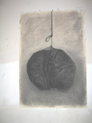Salvatore Victor; Knit Ball, 2005, Original Drawing Charcoal, 30 x 40 inches. Artwork description: 241 charcoal on rives b. f. k. ...