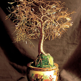 Sal Villano, , , Original Sculpture Mixed, size_width{Asian_Gold_Leaves,_Wire_Tree_Sculpture_-1208375330.jpg} X 15 inches
