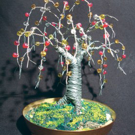 Sal Villano, , , Original Sculpture Mixed, size_width{Beaded_Oak__Wire_Tree_Sculpture_-1313768152.jpg} X 5 inches