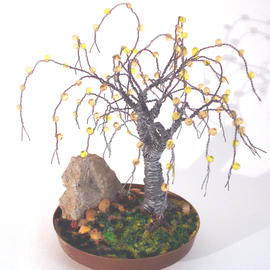 Sal Villano, , , Original Sculpture Mixed, size_width{Beaded_in_Brass_Base__Wire_Tree_Sculpture-1312762678.jpg} X 5 inches