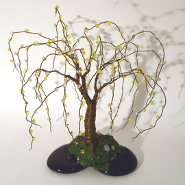 Sal Villano, , , Original Sculpture Mixed, size_width{Beaded_on_Black_Base_Wire_Tree_Sculpture_-1314993268.jpg} X 8 inches