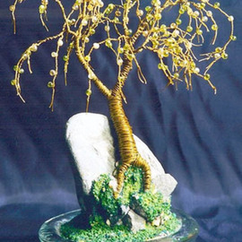 Sal Villano, , , Original Sculpture Mixed, size_width{Beaded_on_Rock_,___Wire_Tree_Sculpture_-1210964833.jpg} X 6 inches