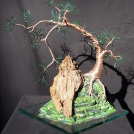 Sal Villano, , , Original Sculpture Mixed, size_width{Cascade__on__Glass,_Wire_Tree_Sculpture_-1208375964.jpg} X 15 inches