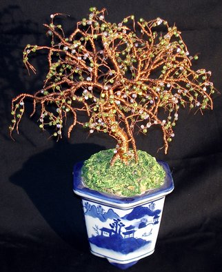 Sal Villano; beaded bonsai wire sculpture, 2017, Original Sculpture Mixed, 9 x 12 inches. Artwork description: 241 Beaded Bonsai, Beaded Wire Tree Sculpture9 wide x 12 high x 7 deep. The tree is made of 18   26 solid copper wire. The branches and twigs contain hundreds of clear tiny glass fringe beads. Each glass bead is interwoven into wire giving the structure of ...