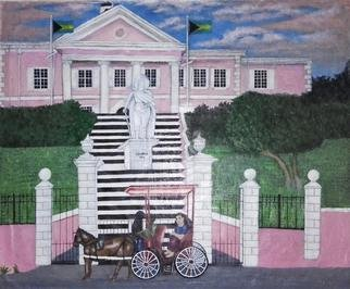 Samantha Lewis; Government House, 2016, Original Painting Acrylic,   inches. Artwork description: 241  Based in the Bahamas. A common and historic tourist attraction situated on Shirley Street. A tourist sight seeing in a horse and carriage stops to marvel and take pictures of the structure.Downtown, Nassau, Bahamas, Tourist Attraction, Statue, Horse and Carriage, Horse, Carriage, Columbus ...