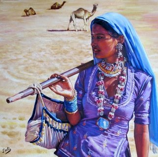 Santiago Carralero; The Gypsy Woman Of Thar Desert, 2010, Original Painting Oil, 70 x 70 cm. Artwork description: 241  One more of the Nomadic People collection of this author, this work reflects the wandering life of gypsy women in India, roaming for costumers  ...