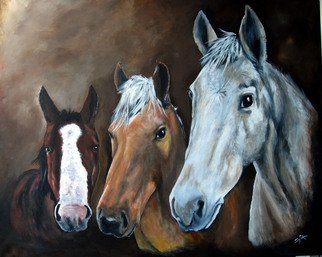 Sandee Armstrong-Smith; The Three Musketeers, 2011, Original Painting Acrylic, 24 x 18 inches. Artwork description: 241  Three Horses Looking Over the Fence.   ...