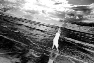 Sandia Mar; GOD EYE, 2007, Original Photography Black and White, 40 x 30 cm. Artwork description: 241  God observing female joy ( please observe the clouds, you may notice something unusual) ...