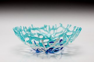 Sandy Feder; Aqua Coral Bowl, 2017, Original Glass Fused, 14 x 5 inches. Artwork description: 241 This bowl is made of fused glass in aqua, white and royal blue.  It measures about 14 inches diameter and about 5 inches deep. It looks like ocean coral and makes a nice fruit bowl or just a pretty art glass piece on a table. ...