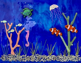 Sandy Feder; Clownfish Deep Blue Sea, 2017, Original Glass Fused, 23 x 18 inches. Artwork description: 241 This fused glass wall art is a seascape with deep blue ocean. On it are coral and seaweed, 2 clown fish, fish, jellyfish, seahorse and a turtle.  Some of the glass is dichroic and the surface is raised. ...
