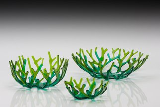 Sandy Feder; Green Coral Bowl Set, 2017, Original Glass Fused, 14 x 5 inches. Artwork description: 241 This green coral bowl set has 3 bowls that nest inside each other.  Nested they are 14 inches diameter and about 5 inches tall.  The base is transparent emerald green and tips are transparent lime green. ...