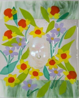 Sandy Feder; Mother Nature Spring, 2016, Original Glass Fused, 18 x 22 inches. Artwork description: 241 Mother Nature is peering out from Spring Flowers and leaves to see how humans react to her miracle of Spring, dichroic glass...