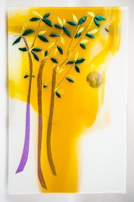 Sandy Feder; Summer Trees, 2016, Original Glass Fused, 16 x 24 inches. Artwork description: 241 3 Trees and hot summer sun, dichroic glass, gold, green, shimmering...