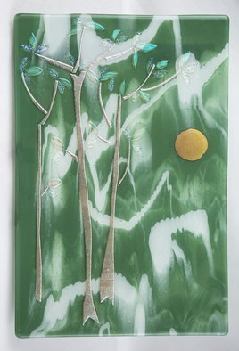 Sandy Feder; Three Trees In Spring, 2016, Original Glass Fused, 16 x 24 inches. Artwork description: 241 Three trees dichroic glass, sun, green, silver...