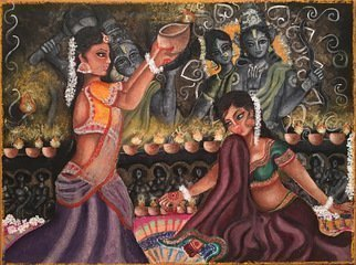 Sangeetha Bansal, 'Celebrating Diwali', 2016, original Mixed Media, 16 x 12  x 2 inches. Artwork description: 1911  Original watercolor and charcoal painting of women celebrating the Hindu festival of Diwali. They are lighting lamps and making rangoli designs on the floor with colored powder. The gods they are worshipping are seen in the background, blessing them. There are carvings of dancing girls on the ...