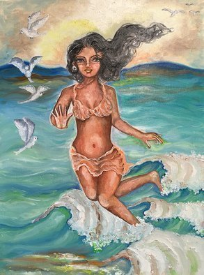 Sangeetha Bansal, 'Good Bye Summer', 2016, original Painting Oil, 12 x 16  x 1 inches. Artwork description: 1911  Original oil painting of a woman jumping in the waves. It is her one last frolic in the sun and sand. Its a last time time enjoying the water for the year. ...