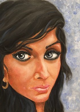 Sangeetha Bansal, 'Self Portrait', 2016, original Painting Oil, 12 x 16  x 1 inches. Artwork description: 1911  Original oil self portrait on canvas. ...