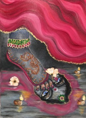Sangeetha Bansal, 'Unveiled', 2016, original Painting Oil, 12 x 16  x 1 inches. Artwork description: 1911  Sequel to the oil painting of a mysterious woman hiding her face. This art shows the ladys face reflected in a lake. Her mesmerizing eyes captivate the viewer. She has henna on her feet and its a beautiful piece of art. ...