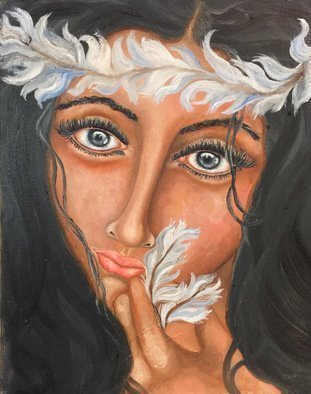 Sangeetha Bansal, 'Widows To My Soul', 2016, original Painting Oil, 16 x 20  x 2 inches. Artwork description: 1911  Original oil painting of a woman with expressive eyes. Her eyes give us a glimpse of whats going on with her. She appears at peace with herself and radiates bliss. Her eyes are calm and reflect a pure soul. . . ...