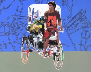 Sanjay Verma; Untitled 20, 2012, Original Painting Acrylic, 30 x 24 inches. Artwork description: 241   Acrylic, fast color, city, rickshaw, people  ...