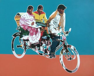 Sanjay Verma; Untitled 25, 2012, Original Painting Acrylic, 30 x 24 inches. Artwork description: 241    Acrylic, fast color, city, rickshaw, people   ...