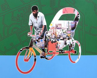 Sanjay Verma; Untitled 30, 2012, Original Painting Acrylic, 30 x 24 inches. Artwork description: 241     Acrylic, fast color, city, rickshaw, people    ...