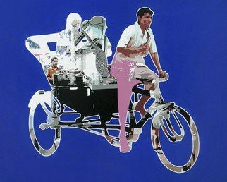 Sanjay Verma; Untitled 31, 2012, Original Painting Acrylic, 30 x 24 inches. Artwork description: 241      Acrylic, fast color, city, rickshaw, people     ...