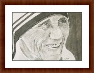 Shelton Barnes; Mother Theresa, 2020, Original Drawing Graphite, 11.7 x 16.5 inches. Artwork description: 241 Mother Theresa, this picture is done on A3 size paper using graphite.  Sold without the frame...