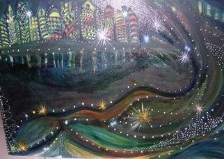 Smeetha Bhoumik; Mumbai Nights, 2005, Original Painting Oil, 20 x 16 inches. Artwork description: 241 She glitters, she shimmers, much like infinite pisces that envelop her persona; Mumbai nights just twinkle!   ...