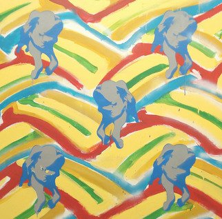 Simon Boyd; Rainbow Strip Pigs, 2007, Original Painting Acrylic, 100 x 100 cm.