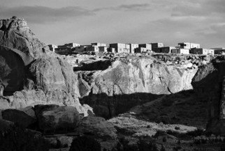 Susan Brannon; Acoma Sky City, 2012, Original Photography Black and White, 11 x 14 inches. Artwork description: 241    New Mexico, desert, Acoma Pubelo, Acoma Sky City, photography, susan brannon, landscape, black and White, Black & white, sky, pueblo, home, desert, Native American, Indians, reservation, clouds, sunlight, bushes            ...