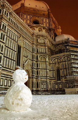 Susan Brannon; Duomo And Snowman, 2012, Original Photography Color, 11 x 14 inches. Artwork description: 241  Duomo, Florence, Italy, snow, snowman, nightscape, dome, history, christmas, life, documentary, culture,  photography, susan brannon        ...