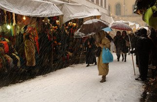 Susan Brannon; Florence In The Snow, 2012, Original Photography Color, 11 x 14 inches. Artwork description: 241   Florence, Italy, snow, cityscape, market, San Lorenzo, woman holding umbrella, snow storm,  colors, night time, photography, susan brannon   ...