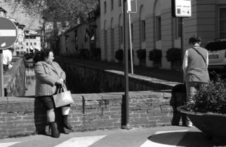 Susan Brannon; Italian Culture, 2012, Original Photography Black and White, 11 x 14 inches. Artwork description: 241    Lucca, Italy, sitting, staring, women, black and white, cityscape, outside, divided, documentary, culture,  photography, susan brannon     ...