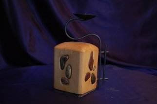 Budaghyan Samvel; Candlestick, 2009, Original Woodworking, 10 x 16 cm. Artwork description: 241  Wood, river stones and iron. ...