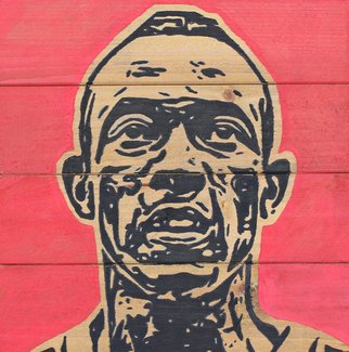 David Mihaly; Jesse Owens, 2017, Original Painting Acrylic, 10 x 10 inches. Artwork description: 241 Acrylic on wood portrait of U. S. Olympics hero Jesse Owens...
