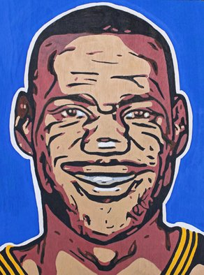 David Mihaly; Lebron James, 2017, Original Painting Acrylic, 12 x 16 inches.