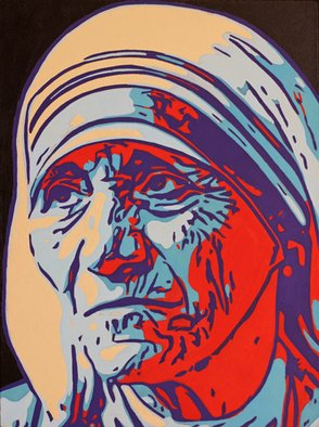 David Mihaly; Mother Theresa, 2017, Original Painting Acrylic, 18 x 24 inches.