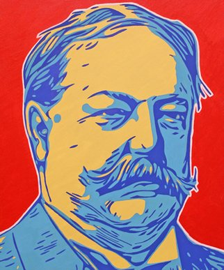 David Mihaly; William Howard Taft, 2017, Original Painting Acrylic, 20 x 24 inches. Artwork description: 241 Contemporary Pop Art portrait of President Taft...