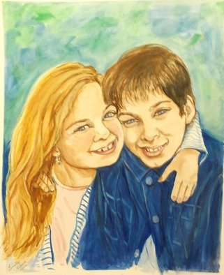 Lenore Schenk; Brother And Sister, 2014, Original Watercolor, 16 x 20 inches. Artwork description: 241                      Watercolor painting on illustration board , from photos, I can work from your Photos.                                                  ...