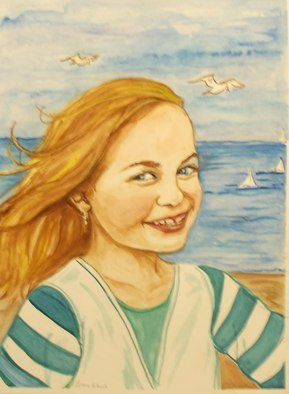 Lenore Schenk; Girl By The Sea, 2014, Original Watercolor, 16 x 20 inches. Artwork description: 241                       Watercolor painting on illustration board , from photos, I can work from your Photos.                                                   ...