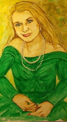 Lenore Schenk; Lady In Green Dress, 2014, Original Watercolor, 16 x 20 inches. Artwork description: 241               Watercolor painting on illustration board , from photos,                                            ...