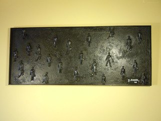 Scott Mohr; Biz Guys In Black, 2004, Original Mixed Media, 20 x 60 inches. Artwork description: 241  Mixed media painting done with the salesmen figures my father gave me.    ...