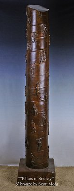 Scott Mohr; Pillars Of Society, 2005, Original Sculpture Bronze, 14 x 72 inches. Artwork description: 241  An homage to my father who was a salesman during the 60s