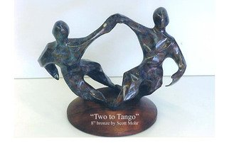 Scott Mohr; Two To Tango, 1988, Original Sculpture Bronze, 6 x 8 inches. Artwork description: 241  These stylized dancers are mounted on a lazy Susan so they spin. . . they can truly dance   ...